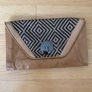 Elliott Lucca leather clutch with woven detail